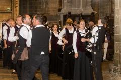 DSC_4109 18 aout 2019. Le Bagad Boulvriag à la basilique de Guingamp pour la messe de la Saint-Loup.